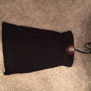 Mini black summer dress with halter neck tie